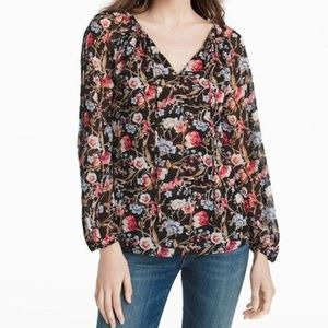 WHBM Black Floral Sheer Top 0